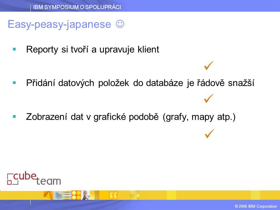 IBM SYMPOSIUM O SPOLUPRÁCI © 2006 IBM Corporation Easy-peasy-japanese  Reporty si tvoří a upravuje klient  Přidání datových položek do databáze je ř