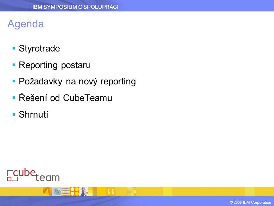 IBM SYMPOSIUM O SPOLUPRÁCI © 2006 IBM Corporation Agenda  Styrotrade  Reporting postaru  Požadavky na nový reporting  Řešení od CubeTeamu  Shrnut