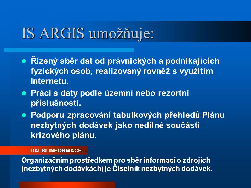 INTERNET Nezbytným předpokladem využívání centrálního systému ARGIS je funkčnost internetu (příp.