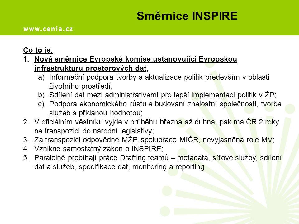 Směrnice INSPIRE Co to je: 1.Nová směrnice Evropské komise ustanovující Evropskou infrastrukturu prostorových dat; a)Informační podpora tvorby a aktualizace politik především v oblasti životního prostředí; b)Sdílení dat mezi administrativami pro lepší implementaci politik v ŽP; c)Podpora ekonomického růstu a budování znalostní společnosti, tvorba služeb s přidanou hodnotou; 2.V oficiálním věstníku vyjde v průběhu března až dubna, pak má ČR 2 roky na transpozici do národní legislativy; 3.Za transpozici odpovědné MŽP, spolupráce MIČR, nevyjasněná role MV; 4.Vznikne samostatný zákon o INSPIRE; 5.Paralelně probíhají práce Drafting teamů – metadata, síťové služby, sdílení dat a služeb, specifikace dat, monitoring a reporting
