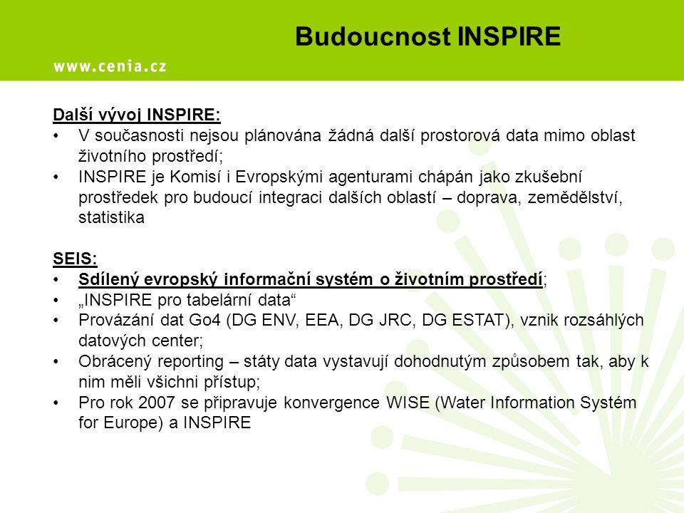 """Budoucnost INSPIRE Další vývoj INSPIRE: V současnosti nejsou plánována žádná další prostorová data mimo oblast životního prostředí; INSPIRE je Komisí i Evropskými agenturami chápán jako zkušební prostředek pro budoucí integraci dalších oblastí – doprava, zemědělství, statistika SEIS: Sdílený evropský informační systém o životním prostředí; """"INSPIRE pro tabelární data Provázání dat Go4 (DG ENV, EEA, DG JRC, DG ESTAT), vznik rozsáhlých datových center; Obrácený reporting – státy data vystavují dohodnutým způsobem tak, aby k nim měli všichni přístup; Pro rok 2007 se připravuje konvergence WISE (Water Information Systém for Europe) a INSPIRE"""