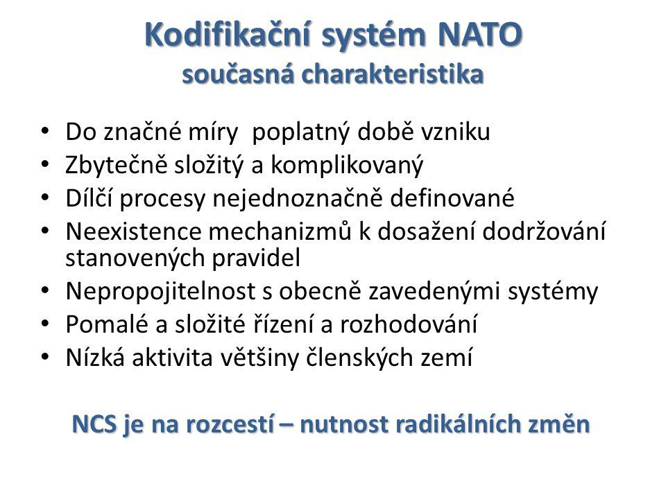 Kodifikační systém NATO současná charakteristika Do značné míry poplatný době vzniku Zbytečně složitý a komplikovaný Dílčí procesy nejednoznačně definované Neexistence mechanizmů k dosažení dodržování stanovených pravidel Nepropojitelnost s obecně zavedenými systémy Pomalé a složité řízení a rozhodování Nízká aktivita většiny členských zemí NCS je na rozcestí – nutnost radikálních změn NCS je na rozcestí – nutnost radikálních změn