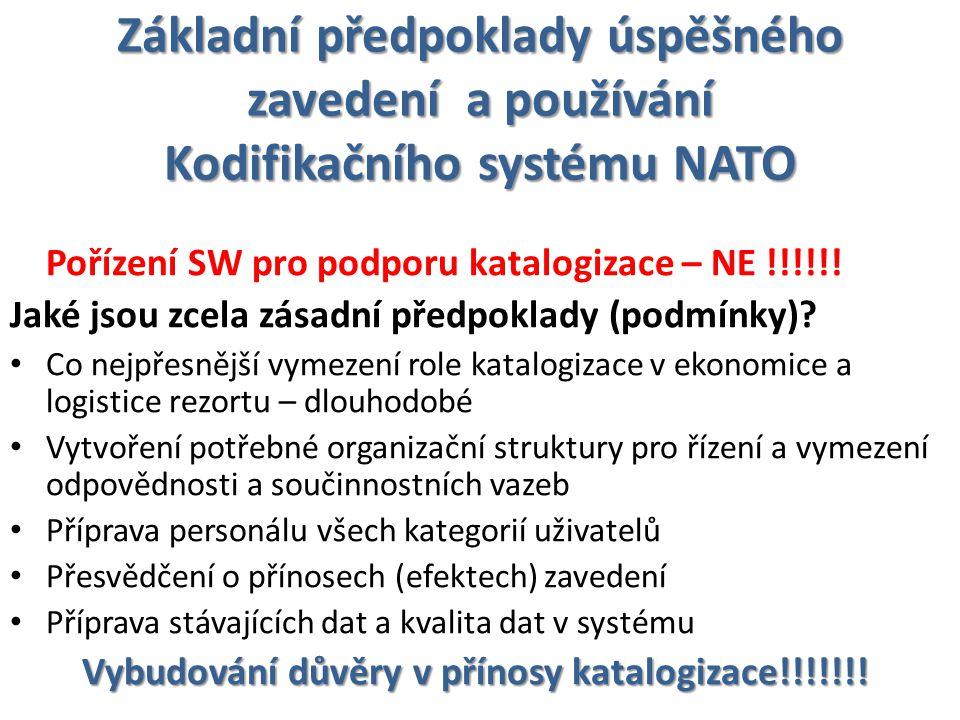 Základní předpoklady úspěšného zavedení a používání Kodifikačního systému NATO Pořízení SW pro podporu katalogizace – NE !!!!!.