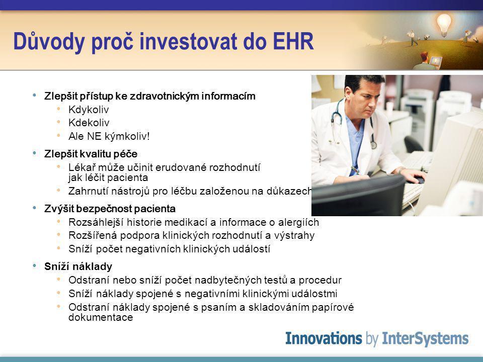 Důvody proč investovat do EHR Zlepšit přístup ke zdravotnickým informacím Kdykoliv Kdekoliv Ale NE kýmkoliv.