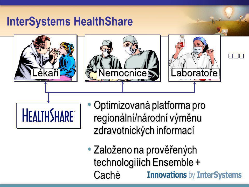 InterSystems HealthShare Optimizovaná platforma pro regionální/národní výměnu zdravotnických informací Optimizovaná platforma pro regionální/národní výměnu zdravotnických informací Založeno na prověřených technologiíích Ensemble + Caché Založeno na prověřených technologiíích Ensemble + Caché LékařiNemocnice Laboratoře