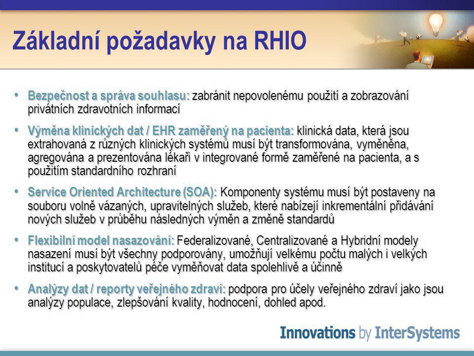 Základní požadavky na RHIO Bezpečnost a správa souhlasu: zabránit nepovolenému použití a zobrazování privátních zdravotních informací Bezpečnost a správa souhlasu: zabránit nepovolenému použití a zobrazování privátních zdravotních informací Výměna klinických dat / EHR zaměřený na pacienta: klinická data, která jsou extrahovaná z různých klinických systémů musí být transformována, vyměněna, agregována a prezentována lékaři v integrované formě zaměřené na pacienta, a s použitím standardního rozhraní Výměna klinických dat / EHR zaměřený na pacienta: klinická data, která jsou extrahovaná z různých klinických systémů musí být transformována, vyměněna, agregována a prezentována lékaři v integrované formě zaměřené na pacienta, a s použitím standardního rozhraní Service Oriented Architecture (SOA): Komponenty systému musí být postaveny na souboru volně vázaných, upravitelných služeb, které nabízejí inkrementální přidávání nových služeb v průběhu následných výměn a změně standardů Service Oriented Architecture (SOA): Komponenty systému musí být postaveny na souboru volně vázaných, upravitelných služeb, které nabízejí inkrementální přidávání nových služeb v průběhu následných výměn a změně standardů Flexibilní model nasazování: Federalizované, Centralizované a Hybridní modely nasazení musí být všechny podporovány, umožňují velkému počtu malých i velkých institucí a poskytovatelů péče vyměňovat data spolehlivě a účinně Flexibilní model nasazování: Federalizované, Centralizované a Hybridní modely nasazení musí být všechny podporovány, umožňují velkému počtu malých i velkých institucí a poskytovatelů péče vyměňovat data spolehlivě a účinně Analýzy dat / reporty veřejného zdraví: podpora pro účely veřejného zdraví jako jsou analýzy populace, zlepšování kvality, hodnocení, dohled apod.