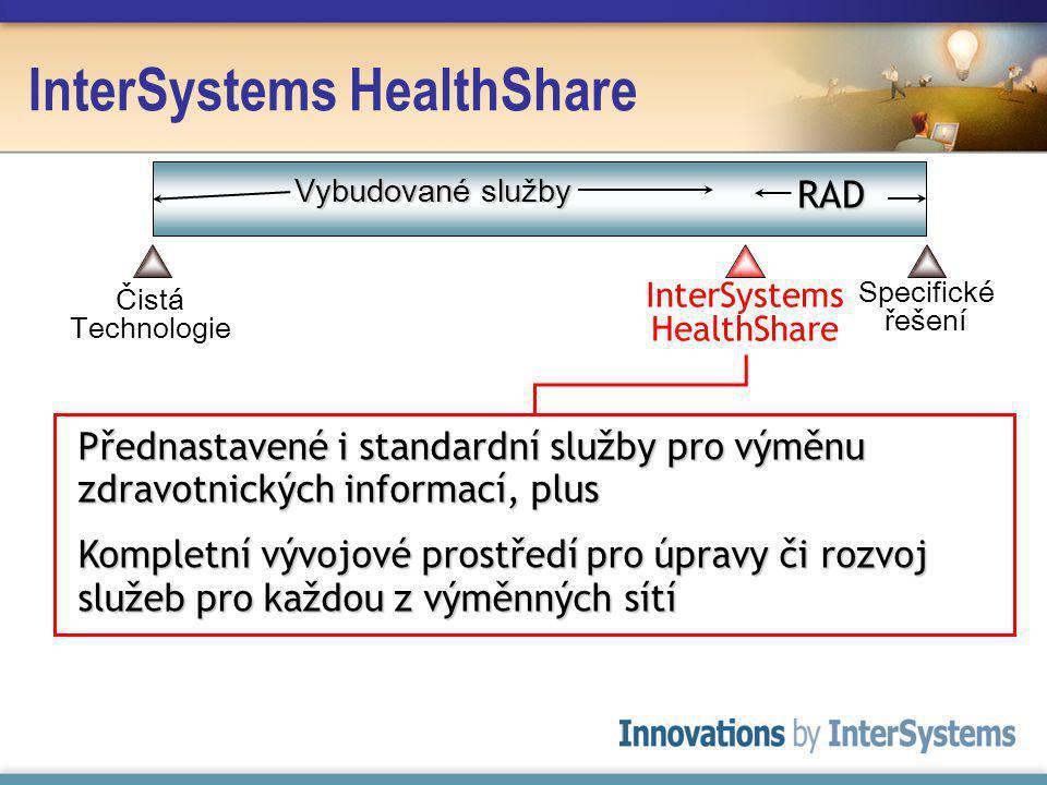 InterSystems HealthShare Přednastavené i standardní služby pro výměnu zdravotnických informací, plus Kompletní vývojové prostředí pro úpravy či rozvoj služeb pro každou z výměnných sítí Čistá Technologie Specifické řešení Vybudované služby RAD InterSystems HealthShare