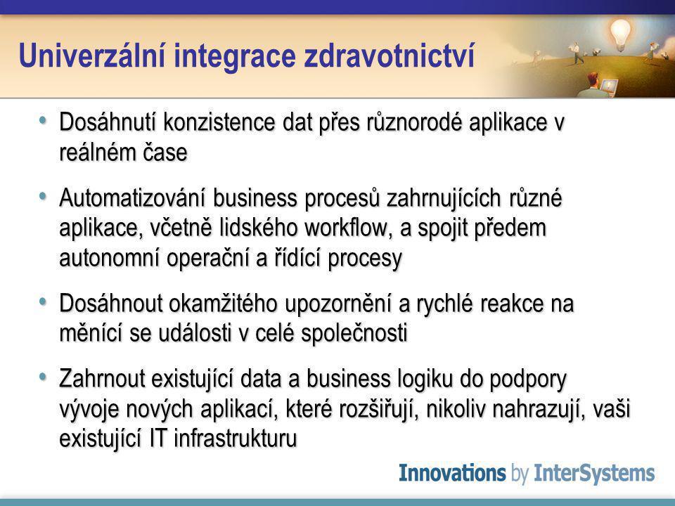 Dosáhnutí konzistence dat přes různorodé aplikace v reálném čase Dosáhnutí konzistence dat přes různorodé aplikace v reálném čase Automatizování business procesů zahrnujících různé aplikace, včetně lidského workflow, a spojit předem autonomní operační a řídící procesy Automatizování business procesů zahrnujících různé aplikace, včetně lidského workflow, a spojit předem autonomní operační a řídící procesy Dosáhnout okamžitého upozornění a rychlé reakce na měnící se události v celé společnosti Dosáhnout okamžitého upozornění a rychlé reakce na měnící se události v celé společnosti Zahrnout existující data a business logiku do podpory vývoje nových aplikací, které rozšiřují, nikoliv nahrazují, vaši existující IT infrastrukturu Zahrnout existující data a business logiku do podpory vývoje nových aplikací, které rozšiřují, nikoliv nahrazují, vaši existující IT infrastrukturu Univerzální integrace zdravotnictví