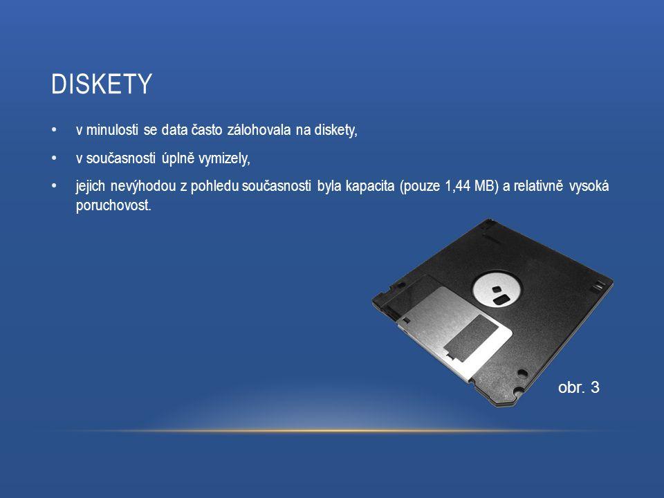 DISKETY v minulosti se data často zálohovala na diskety, v současnosti úplně vymizely, jejich nevýhodou z pohledu současnosti byla kapacita (pouze 1,44 MB) a relativně vysoká poruchovost.