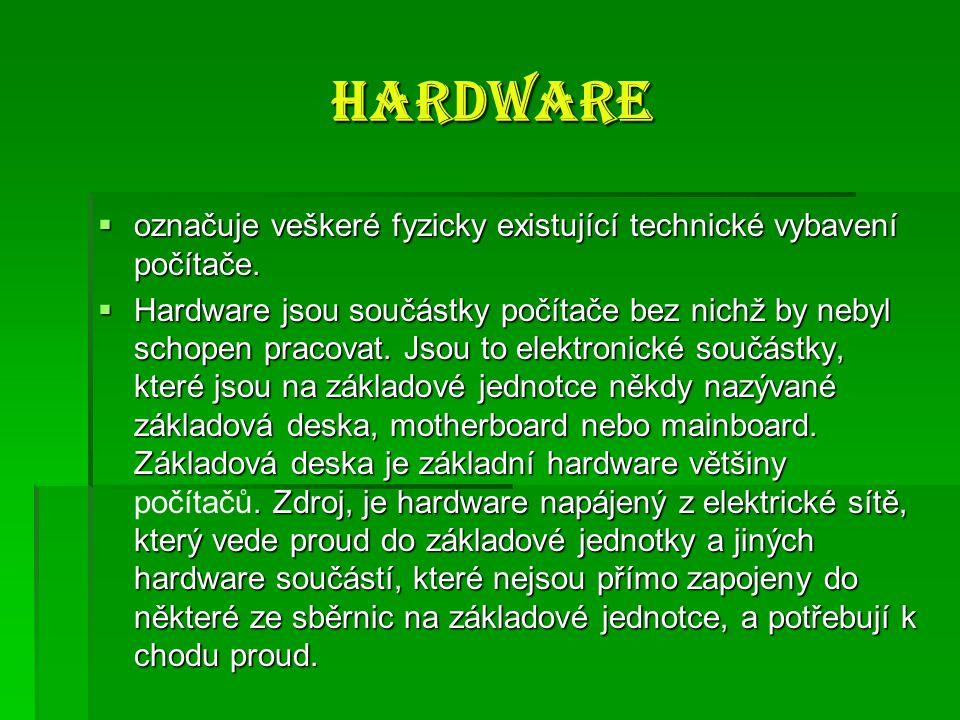 Software Software  je v informatice sada všech počítačových programů používaných v počítači, které provádějí nějakou činnost.
