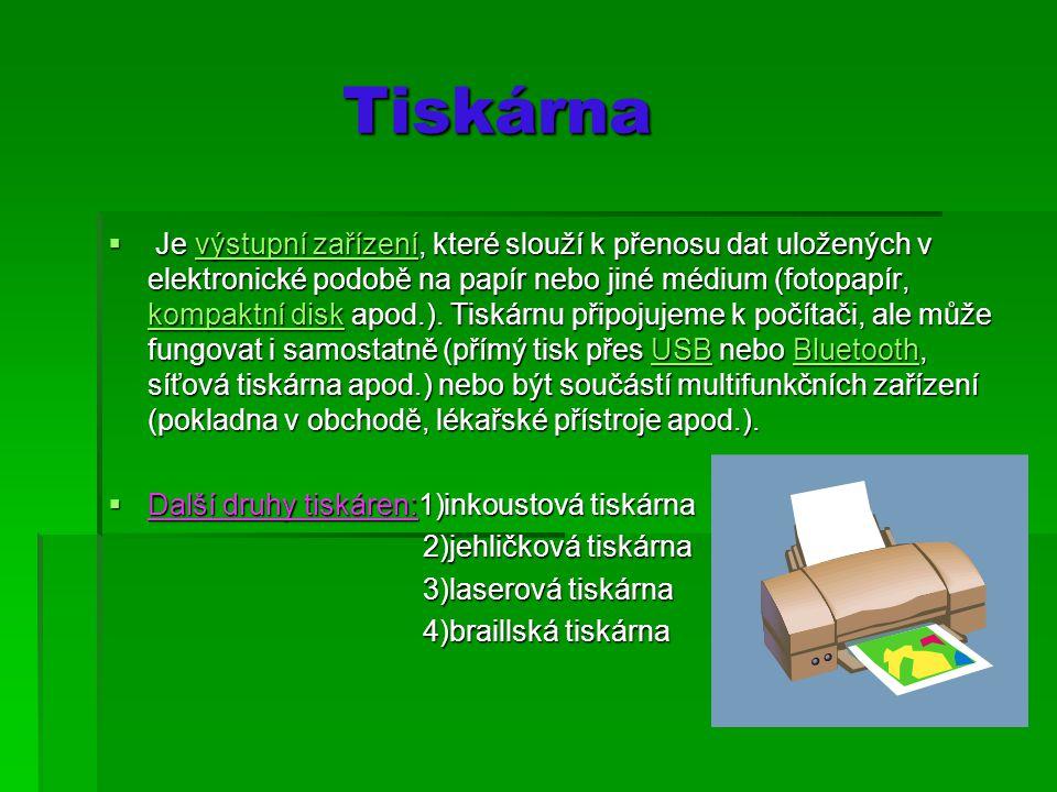 Tiskárna Tiskárna  Je výstupní zařízení, které slouží k přenosu dat uložených v elektronické podobě na papír nebo jiné médium (fotopapír, kompaktní disk apod.).