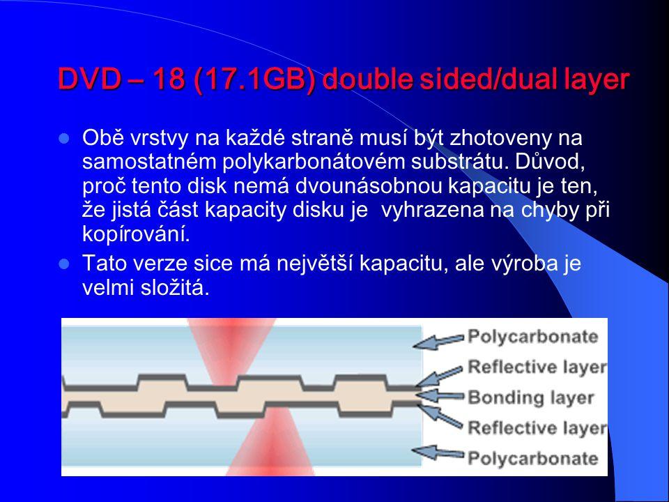 DVD – 18 (17.1GB) double sided/dual layer Obě vrstvy na každé straně musí být zhotoveny na samostatném polykarbonátovém substrátu. Důvod, proč tento d