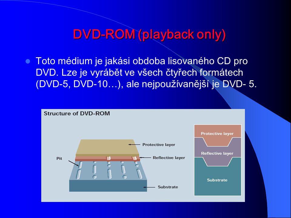 DVD-ROM DVD-ROM (playback only) Toto médium je jakási obdoba lisovaného CD pro DVD. Lze je vyrábět ve všech čtyřech formátech (DVD-5, DVD-10…), ale ne