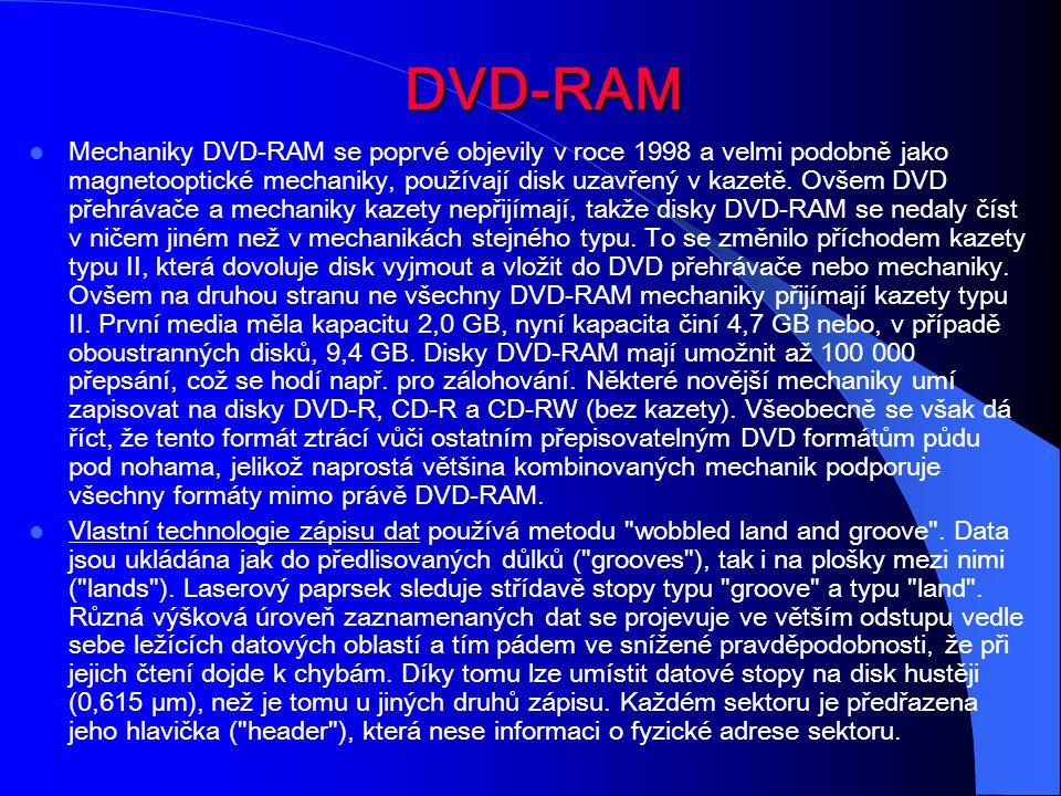 DVD-RAM Mechaniky DVD-RAM se poprvé objevily v roce 1998 a velmi podobně jako magnetooptické mechaniky, používají disk uzavřený v kazetě. Ovšem DVD př