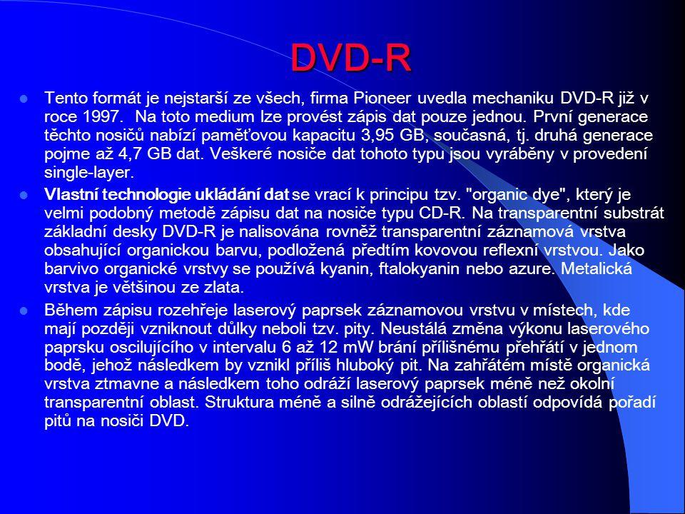 DVD-R Tento formát je nejstarší ze všech, firma Pioneer uvedla mechaniku DVD-R již v roce 1997. Na toto medium lze provést zápis dat pouze jednou. Prv