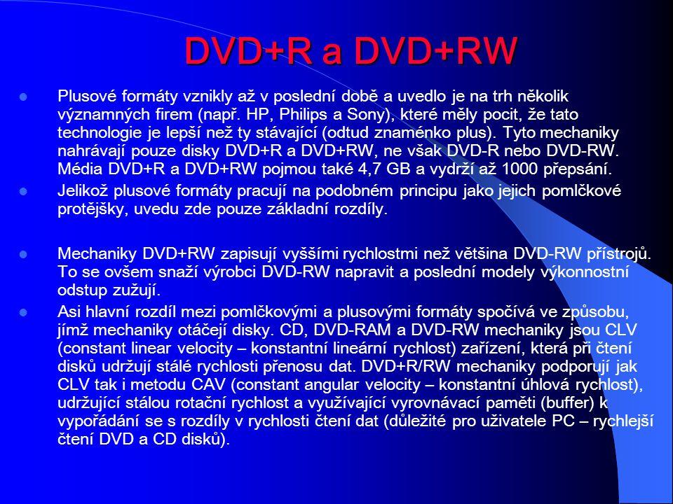 DVD+R DVD+R a DVD+RW Plusové formáty vznikly až v poslední době a uvedlo je na trh několik významných firem (např. HP, Philips a Sony), které měly poc