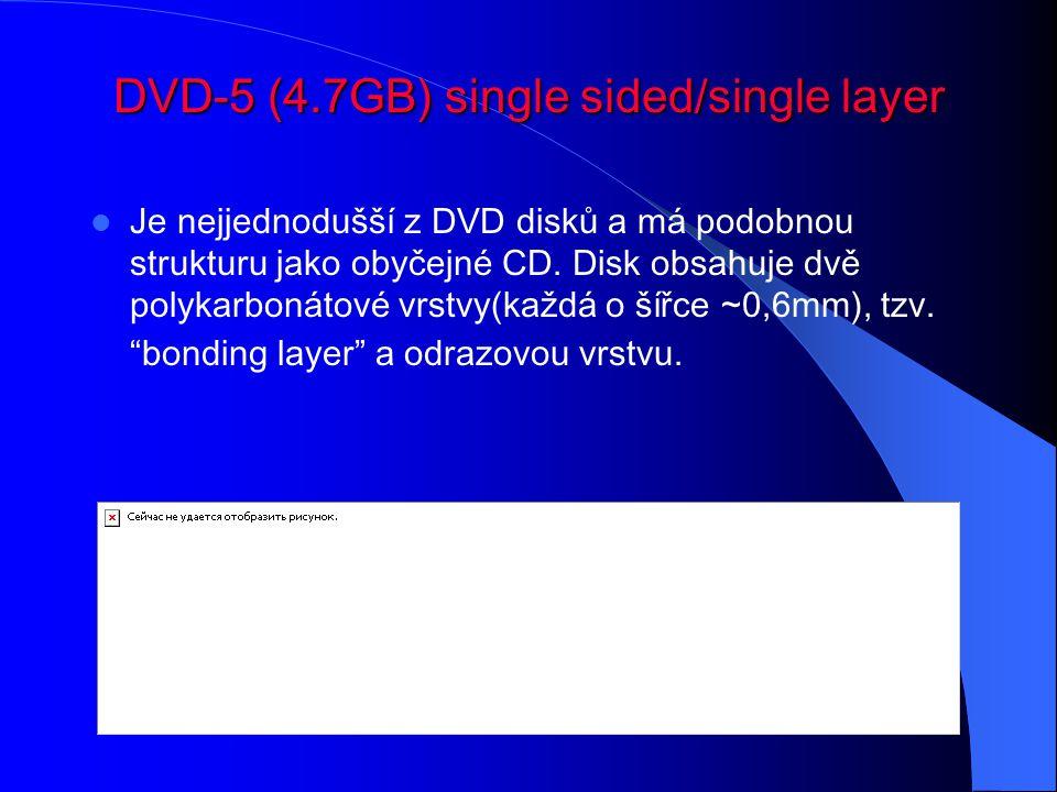 DVD-5 (4.7GB) single sided/single layer Je nejjednodušší z DVD disků a má podobnou strukturu jako obyčejné CD. Disk obsahuje dvě polykarbonátové vrstv