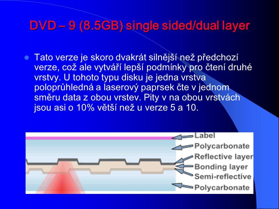 DVD – 10 (9.4GB) double sided/single layer Rozdíl této vrze oproti single layer je v tom, že obě polykarbonátové vrstvy obsahují data.