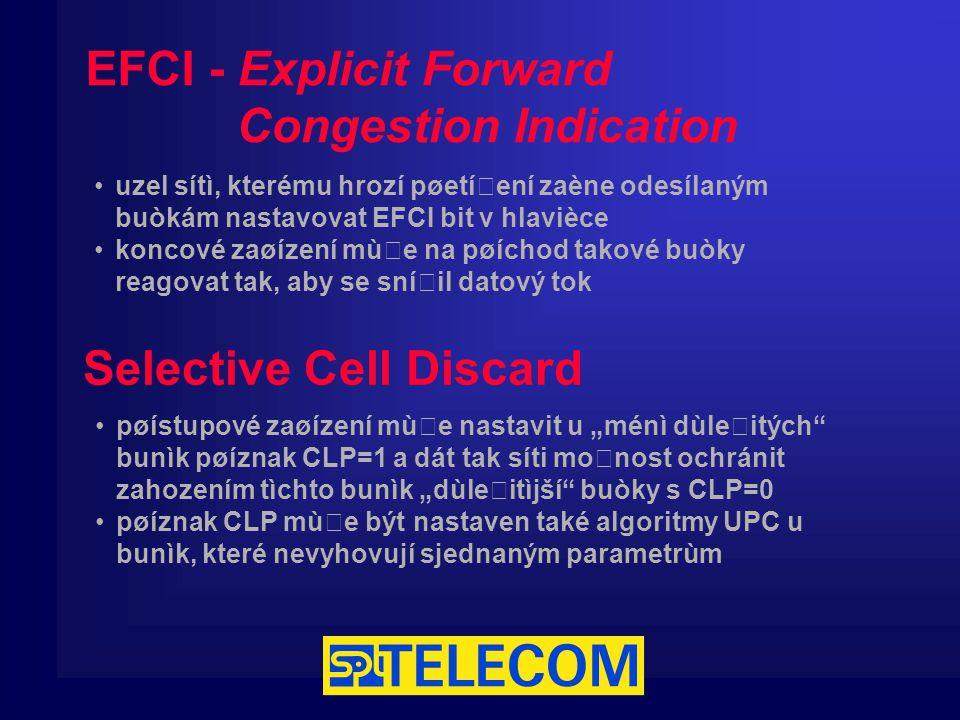 """EFCI - Explicit Forward Congestion Indication Selective Cell Discard uzel sítì, kterému hrozí pøetížení zaène odesílaným buòkám nastavovat EFCI bit v hlavièce koncové zaøízení mùže na pøíchod takové buòky reagovat tak, aby se snížil datový tok pøístupové zaøízení mùže nastavit u """"ménì dùležitých bunìk pøíznak CLP=1 a dát tak síti možnost ochránit zahozením tìchto bunìk """"dùležitìjší buòky s CLP=0 pøíznak CLP mùže být nastaven také algoritmy UPC u bunìk, které nevyhovují sjednaným parametrùm"""