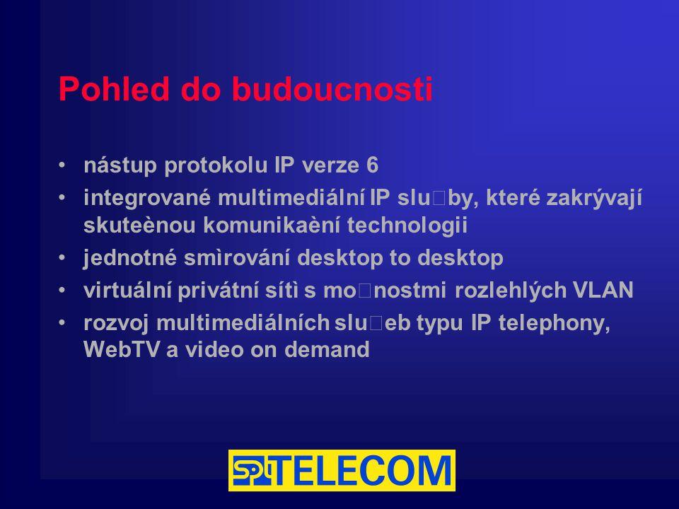 Pohled do budoucnosti nástup protokolu IP verze 6 integrované multimediální IP služby, které zakrývají skuteènou komunikaèní technologii jednotné smìrování desktop to desktop virtuální privátní sítì s možnostmi rozlehlých VLAN rozvoj multimediálních služeb typu IP telephony, WebTV a video on demand