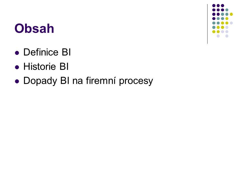 Obsah Definice BI Historie BI Dopady BI na firemní procesy