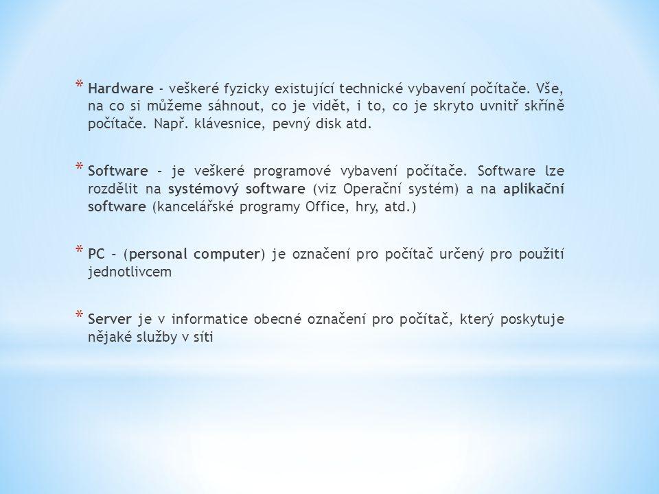 * Operační systém - který zajišťuje chod samotného počítače a jeho styk s okolím.