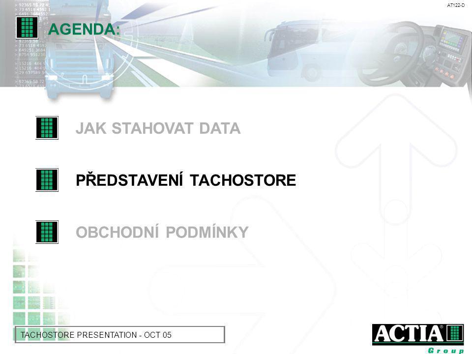 AT122-D TACHOSTORE PRESENTATION - OCT 05 4 Software pro uložení dat = připravený pro dopravce 4 Tři funkce Tachostore: uložení dat stažených z tachografu a paměti řidičovy karty n čtení procesních dat z tachografu: r analýza událostí a chyb (včetně.