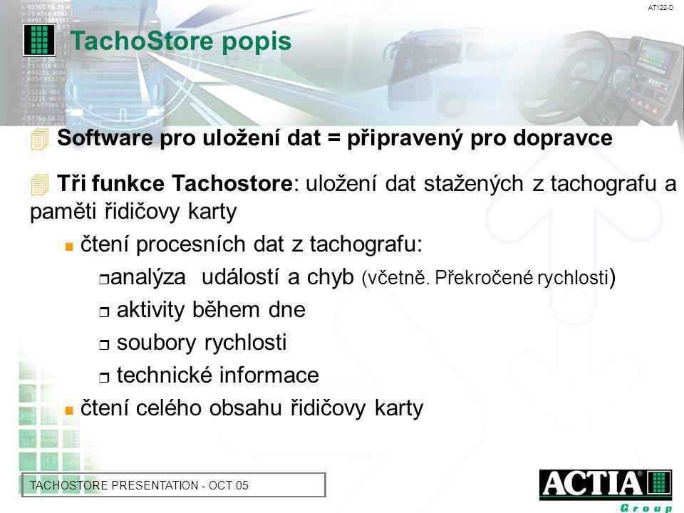 AT122-D TACHOSTORE PRESENTATION - OCT 05 Prostor pro ukládaní dat z tachografu: - za vozidlo - za společnost -soubory jsou organizovány dle data a hodiny stažení do TachoStore - obsahuje funkce pro vyhledávaní dat - Charakteristika: formátování souborů, stažených s označením času mezi dvěma již existujícími soubory TachoStore popis