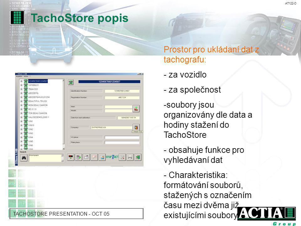 AT122-D TACHOSTORE PRESENTATION - OCT 05 Ukládání dat z karty řidiče: - za řidiče - soubory jsou uložené chronologicky dle data a hodiny stažení - obsahuje funkce pro vyhledávání dat TachoStore popis