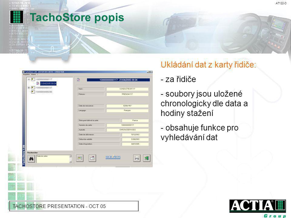 AT122-D TACHOSTORE PRESENTATION - OCT 05 Čtení dat z tachografu: - aktivity během dne - seznam řidičů, kteří použili tachograf -vozidlo - možnost přidání aktivity řidiče, které proběhly bez karty.