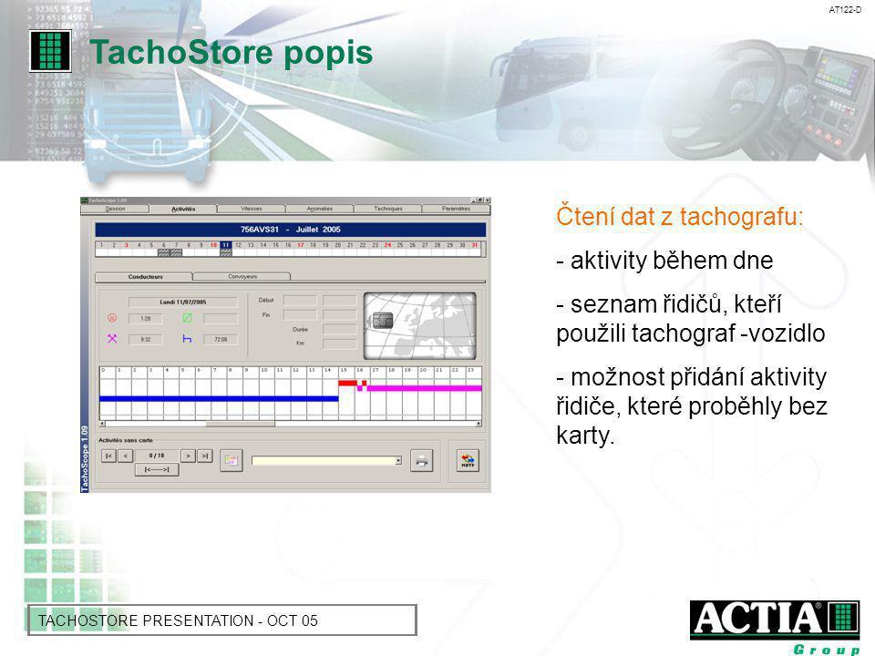 AT122-D TACHOSTORE PRESENTATION - OCT 05 Čtení dat z tachografu : - seznam událostí,chyb, překročení rychlosti a změny času - umožňuje zvýšení pozornosti na opakující se problémy tachografu TachoStore popis