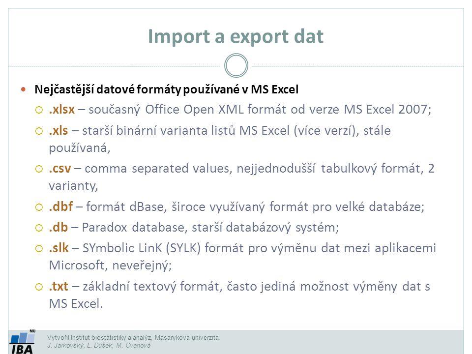 Vytvořil Institut biostatistiky a analýz, Masarykova univerzita J. Jarkovský, L. Dušek, M. Cvanová Import a export dat Nejčastější datové formáty použ