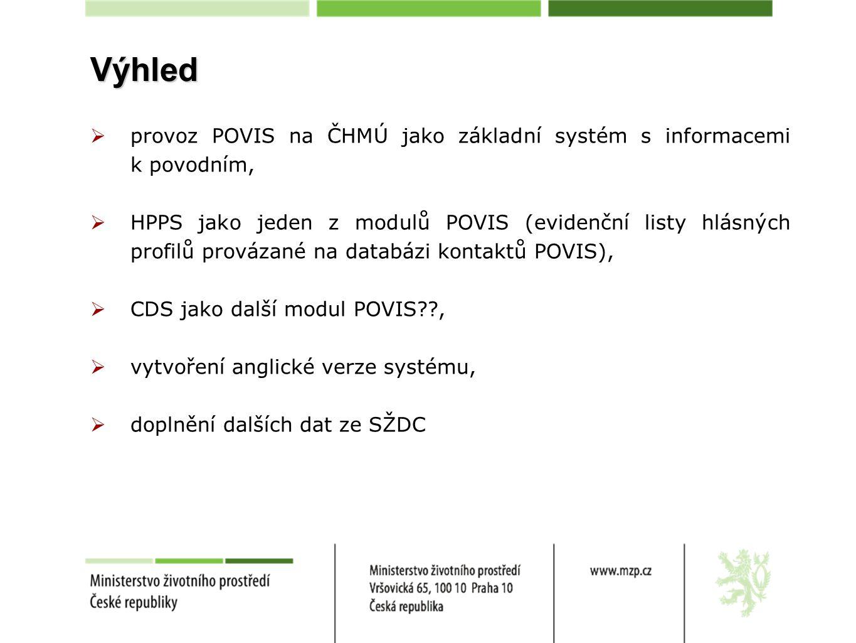 Výhled  provoz POVIS na ČHMÚ jako základní systém s informacemi k povodním,  HPPS jako jeden z modulů POVIS (evidenční listy hlásných profilů provázané na databázi kontaktů POVIS),  CDS jako další modul POVIS??,  vytvoření anglické verze systému,  doplnění dalších dat ze SŽDC