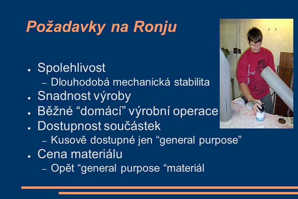 """Požadavky na Ronju ● Spolehlivost – Dlouhodobá mechanická stabilita ● Snadnost výroby ● Běžné """"domácí"""" výrobní operace ● Dostupnost součástek – Kusově"""