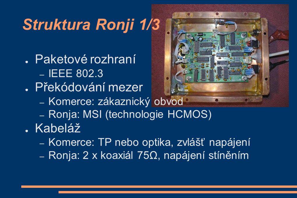● Paketové rozhraní – IEEE 802.3 ● Překódování mezer – Komerce: zákaznický obvod – Ronja: MSI (technologie HCMOS) ● Kabeláž – Komerce: TP nebo optika,