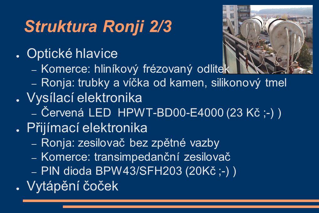 Struktura Ronji 2/3 ● Optické hlavice – Komerce: hliníkový frézovaný odlitek – Ronja: trubky a víčka od kamen, silikonový tmel ● Vysílací elektronika