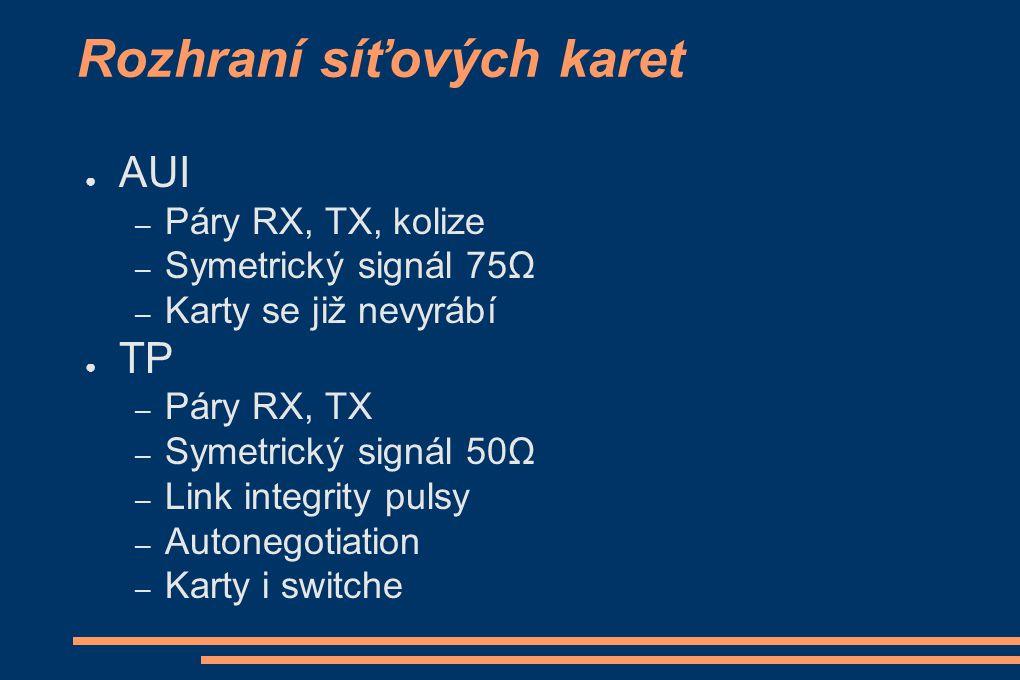 Rozhraní síťových karet ● AUI – Páry RX, TX, kolize – Symetrický signál 75Ω – Karty se již nevyrábí ● TP – Páry RX, TX – Symetrický signál 50Ω – Link