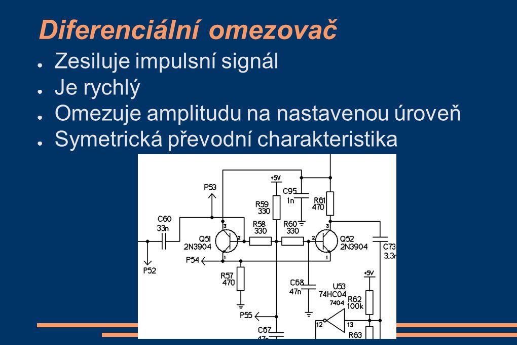 Diferenciální omezovač ● Zesiluje impulsní signál ● Je rychlý ● Omezuje amplitudu na nastavenou úroveň ● Symetrická převodní charakteristika