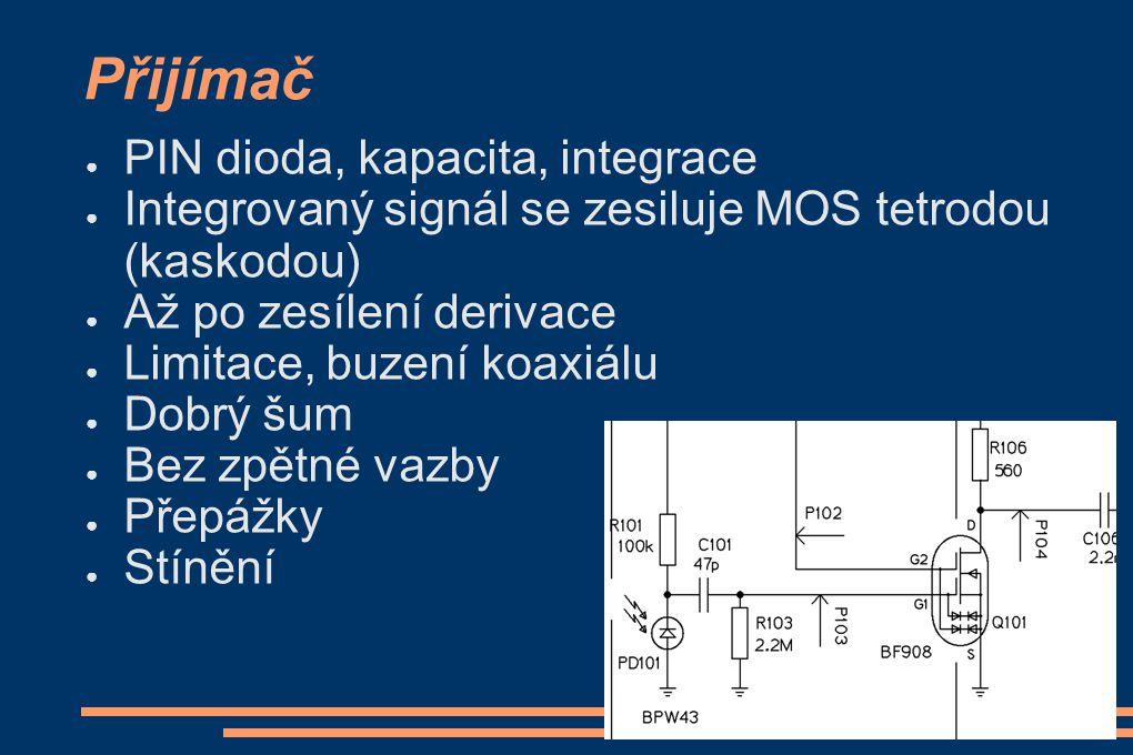 Přijímač ● PIN dioda, kapacita, integrace ● Integrovaný signál se zesiluje MOS tetrodou (kaskodou) ● Až po zesílení derivace ● Limitace, buzení koaxiá