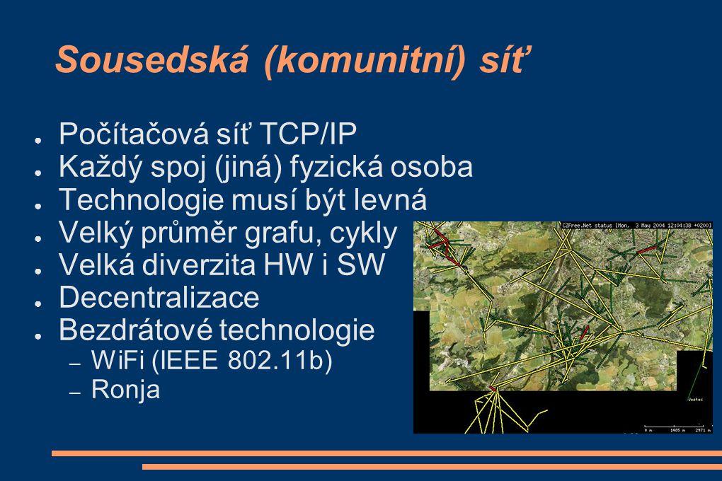 Sousedská (komunitní) síť ● Počítačová síť TCP/IP ● Každý spoj (jiná) fyzická osoba ● Technologie musí být levná ● Velký průměr grafu, cykly ● Velká d