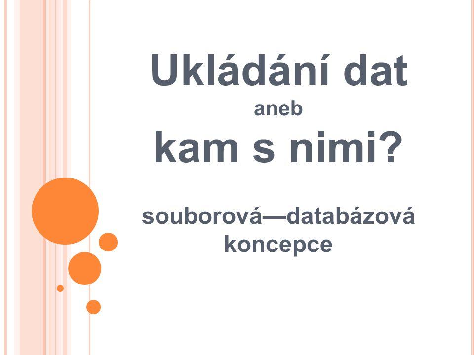Souborová koncepce Data jsou uložena v izolovaných souborech.