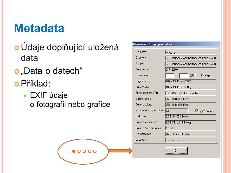 """Metadata Údaje doplňující uložená data """"Data o datech Příklad: EXIF údaje o fotografii nebo grafice"""