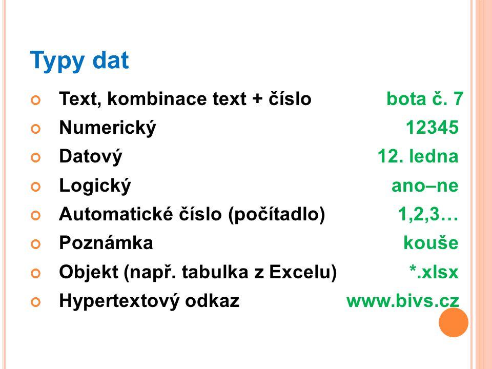 Typy dat Text, kombinace text + číslobota č.7 Numerický12345 Datový12.