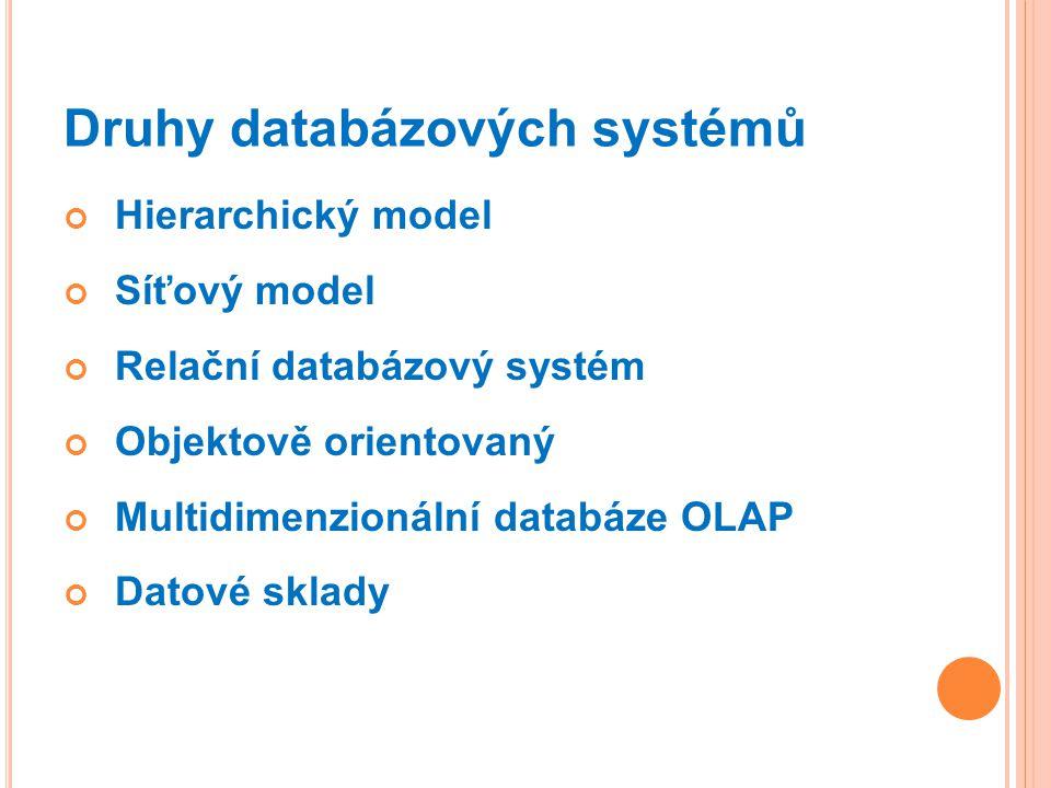 Druhy databázových systémů Hierarchický model Síťový model Relační databázový systém Objektově orientovaný Multidimenzionální databáze OLAP Datové sklady