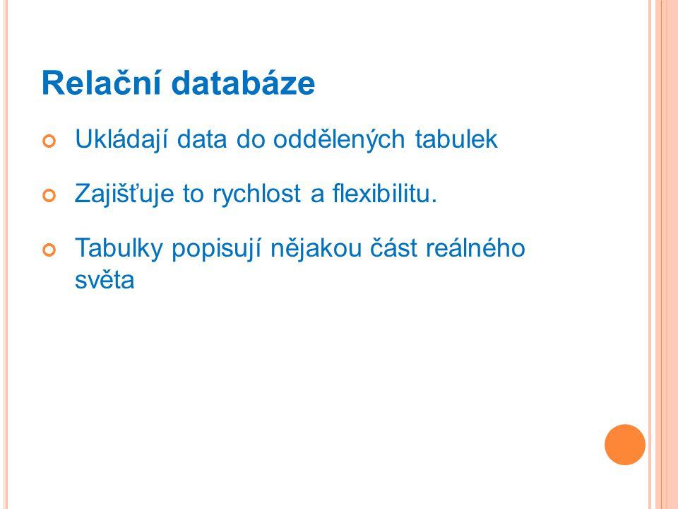 Relační databáze Ukládají data do oddělených tabulek Zajišťuje to rychlost a flexibilitu.