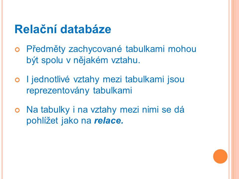 Relační databáze Předměty zachycované tabulkami mohou být spolu v nějakém vztahu.