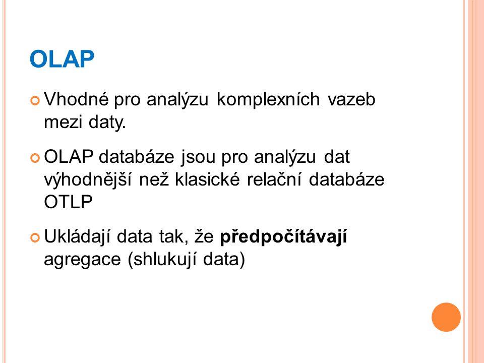 OLAP Vhodné pro analýzu komplexních vazeb mezi daty.