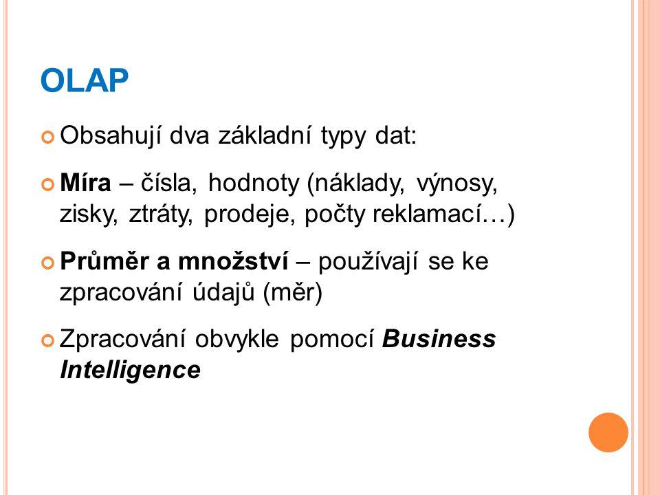OLAP Obsahují dva základní typy dat: Míra – čísla, hodnoty (náklady, výnosy, zisky, ztráty, prodeje, počty reklamací…) Průměr a množství – používají se ke zpracování údajů (měr) Zpracování obvykle pomocí Business Intelligence