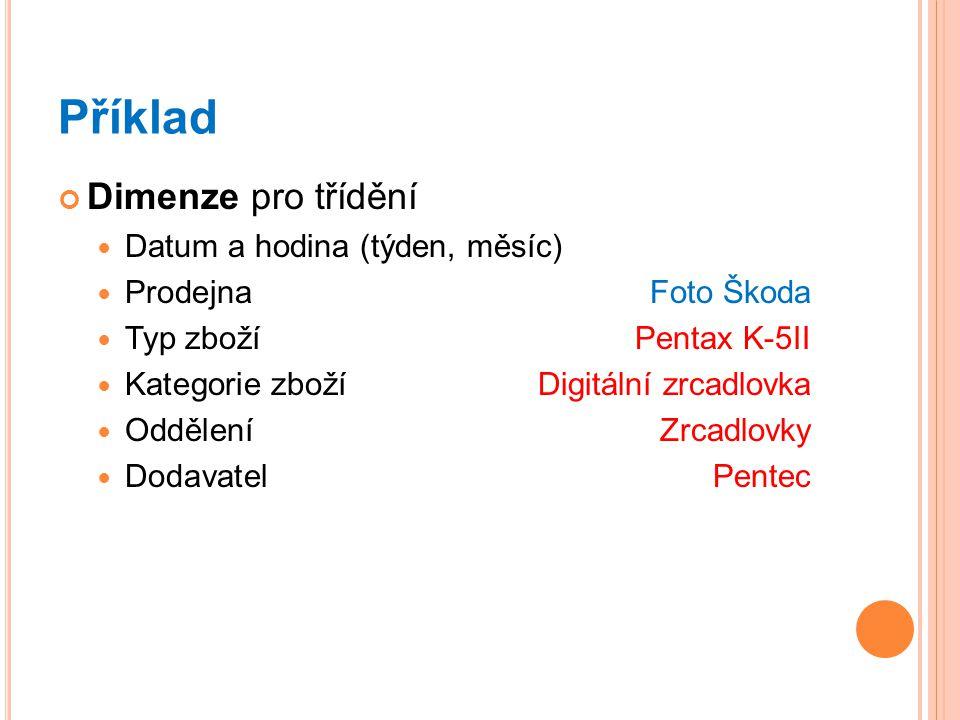 Příklad Dimenze pro třídění Datum a hodina (týden, měsíc) ProdejnaFoto Škoda Typ zboží Pentax K-5II Kategorie zbožíDigitální zrcadlovka Oddělení Zrcadlovky DodavatelPentec