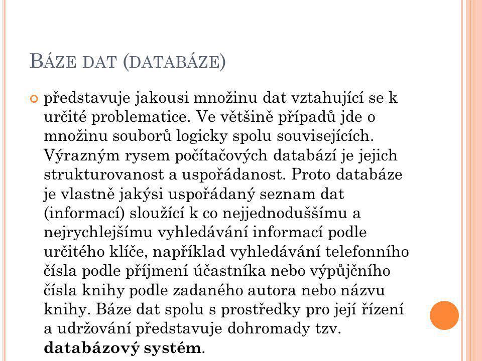 B ÁZE DAT ( DATABÁZE ) představuje jakousi množinu dat vztahující se k určité problematice.